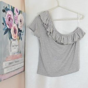 One shoulder cropped ruffle stripe top